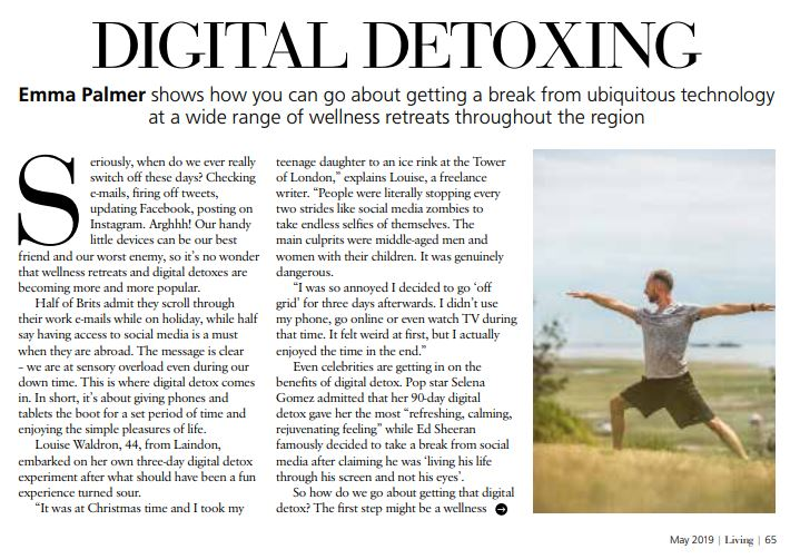 article about Digital Detoxing in Essex Life Magazinr